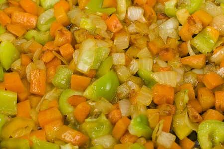 browned: sliced browned vegetables closeup