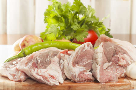 semifinished: raw lamb meat with fresh vegetables