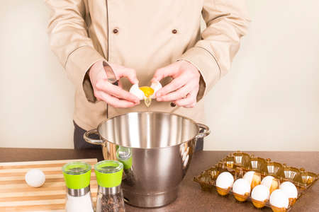 retrieves: cook egg retrieves from the shell of for cooking