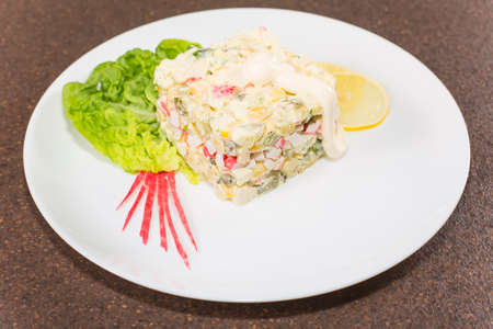 crabmeat: crabmeat salad with mayonnaise and beautifully laid out on a plate with