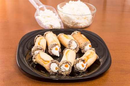 cannoli pastry: Sicilian cannoli pastry tube-with curd