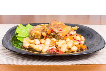 watered: chicken stew with beans boiled watered with gravy
