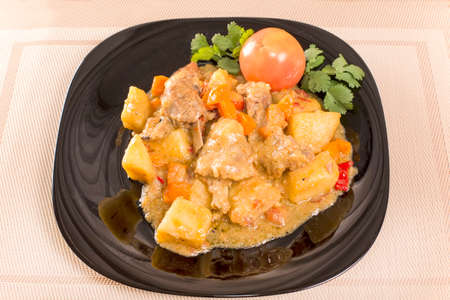 second meal: roast rib meat goat with potatoes Stock Photo