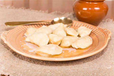 sculpt: homemade dumplings with meat hand sculpt Stock Photo