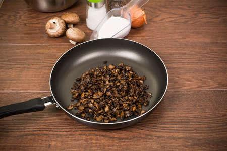 teflon: fried mushrooms on a Teflon pan without fat