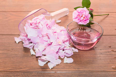 tea rose and rose water from petals