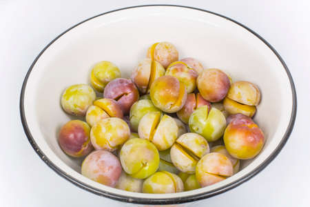 seedless: plum seedless prepared for cooking Stock Photo