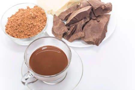 food processing: hot chocolate and food processing cocoa beans Stock Photo