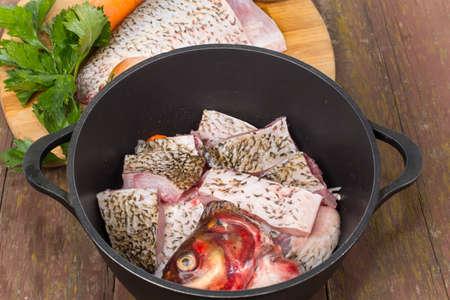 white salmon river: fish bream cut into pieces and folded into the cauldron