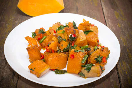 second meal: slices of pumpkin roasted with hot spices