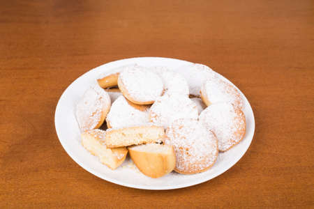 Shortbread cookies with powdered sugar round Stock Photo