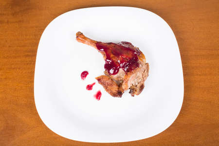 roasted duck leg with raspberry sauce