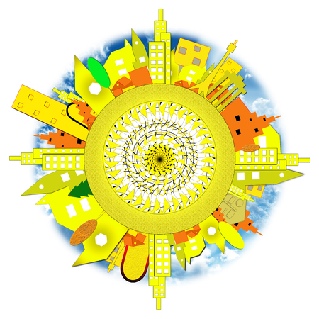tv tower: sun, city, circle, rays, sky, clouds Stock Photo