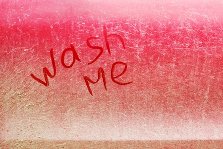 smeared: the inscription on a dirty car, wash me Stock Photo