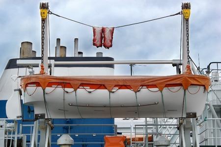 rescue boat on a ship