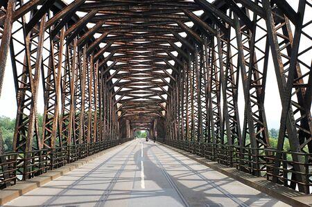 struts: A old Steel bridge over the river Stock Photo