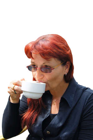 exempted female: Woman drinks a coffee Stock Photo