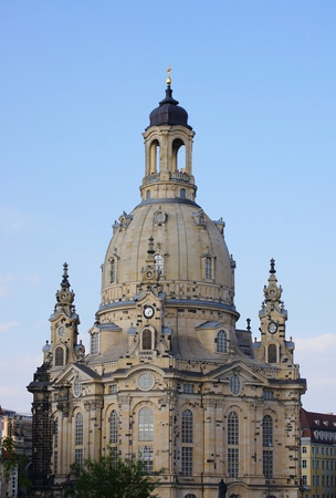 blue church: Church of Our Lady Dresden Stock Photo