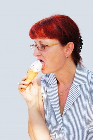 exempted female: Red-haired woman with ice cream cone
