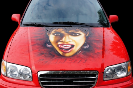 exempted female: Red Car with woman portrait on the hood