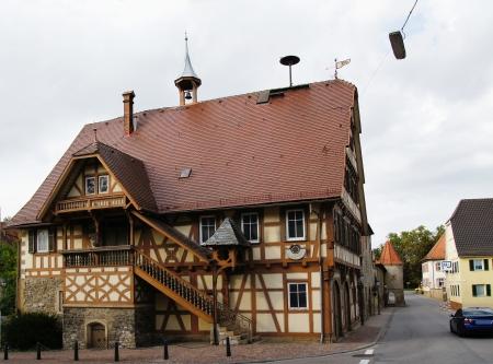 corner clock: Old City Hall of Kochendorf Stock Photo
