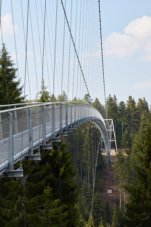 The Wild Line suspension bridge spans a valley at the summer mountain above Bad Wildbad