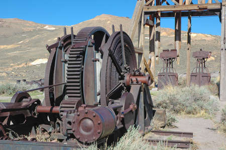 Old mining equipment at Bodie Ghost town