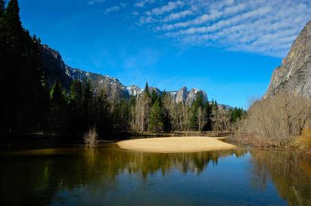 merced: Sand bar in Merced river in Yosemite National Park