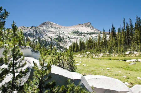 high sierra: High Sierra peaks and a green meadow and granite rocks