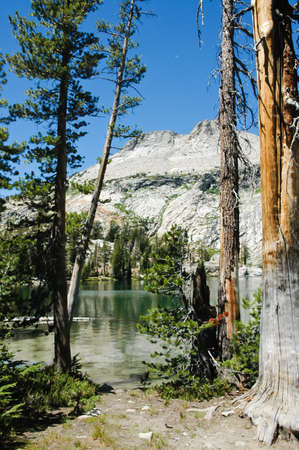 high sierra: A high sierra lake with mountains in the back ground, in Yosemite Natinal Park