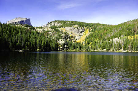 bear lake: Fall colors reflecting in the waters of Bear Lake, Rocky mountain national park Stock Photo
