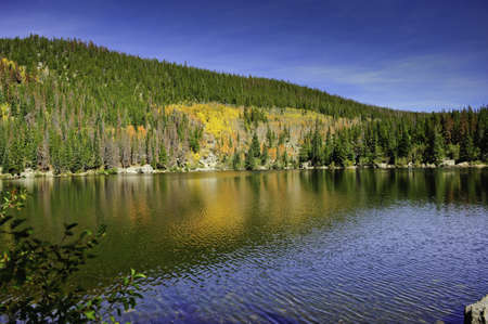 bear lake: Fall colors mixed with pine trees reflecting in Bear Lake, Rocky Mountain national park