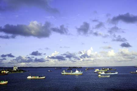 Cargo ships anchored at the harbor in Colon Panama Stock Photo - 9296904