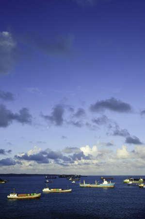 colon panama: Cargo ships anchored at the harbor in Colon Panama