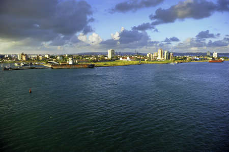 colon panama: The port city of Colon Panama with boats anchored