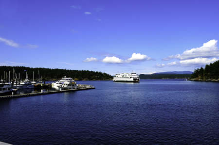 A ferry arriving at Friday Harbor, Washington