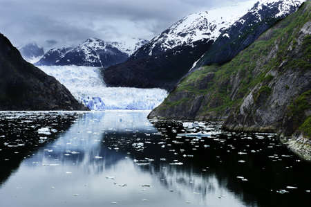 The approach to Sawyer Glacier in Tracy Arm Fjord, Alaska Stock Photo