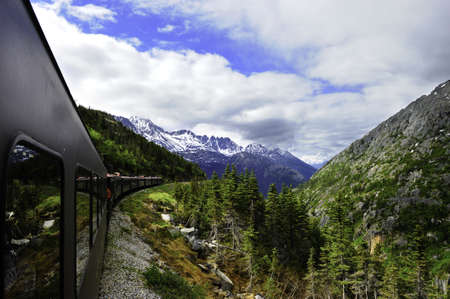 A vintage train out of Skagway Alaska to White Pass Alaska
