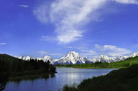 Oxbow bend on the Snake River with the Grand Tetons in the background