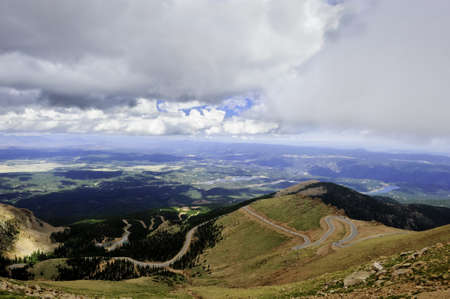 The winding road to Pikes Peak, Colorado photo