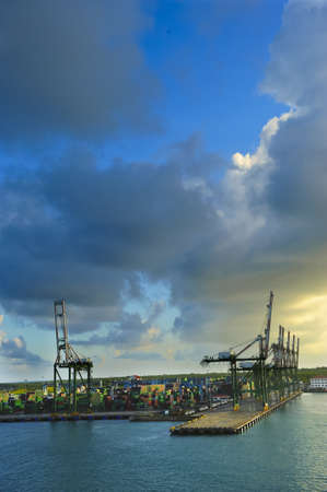 colon panama: Container cranes at sunrise, Colon Panama