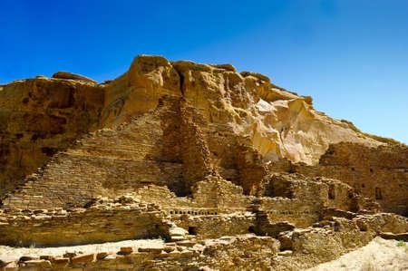 chaco: Ruins of Pueblo Bonito at Chaco Canyon Stock Photo