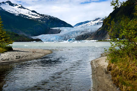 The blue Mendenhall Glacier in Juneau Alaska Stock Photo