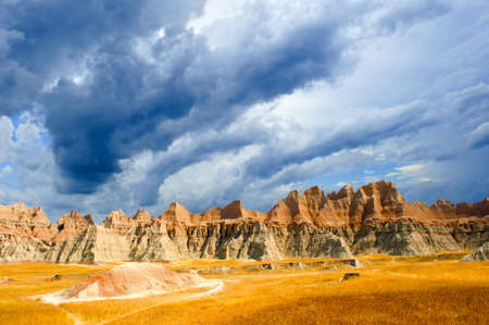 A stormy day at the Badlands national park south dakota