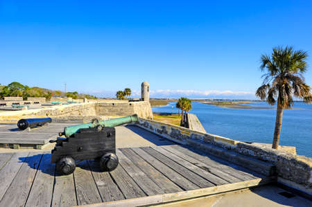 augustine: Canons at Castillo de San Marcos, St  Augustine, Florida Stock Photo