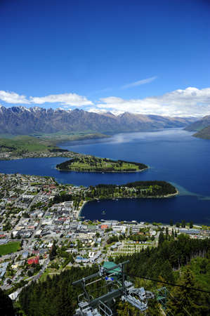 View of Lake Wakatipu and Queenstown, New Zealand Stock Photo