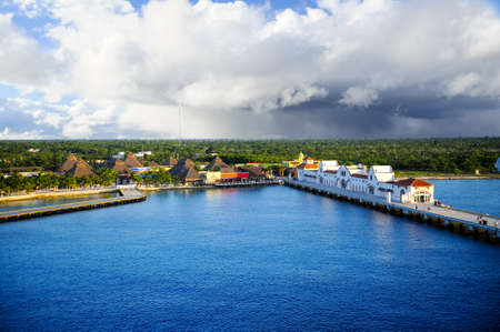 The port at Cozumel, Mexico and colorful buildings
