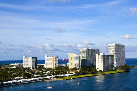 View of homes and hotels in Ft  Lauderdale from Port Everglades Stock Photo