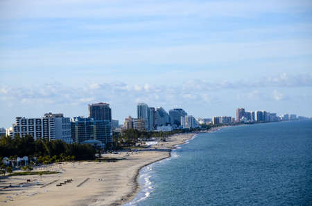 ft lauderdale: Beach and cityscape of Ft  Lauderdale, Florida taken from Port Everglades Stock Photo