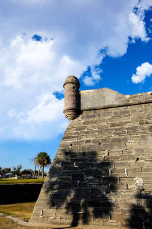 marcos: Shadow of a Palm tree on the wall of Castillo De San Marcos, St  Augustine, Florida